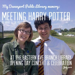 Amber meeting Harry Potter of Harry and the Potters during the Eastern Ave Branch Library Opening Day