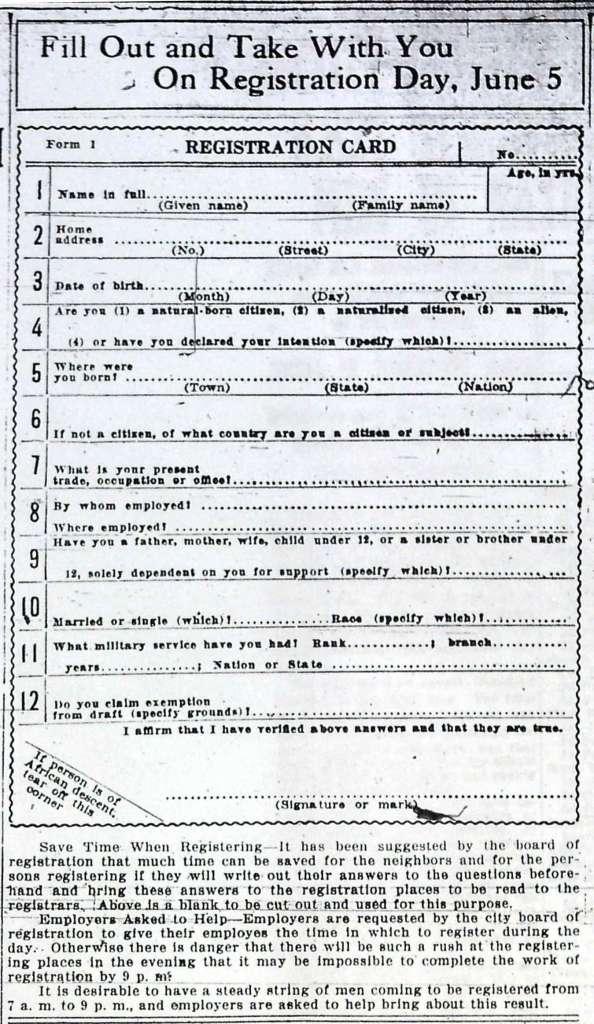 WWI Registration Card