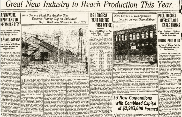 Headlines Industrial  1Jan1922