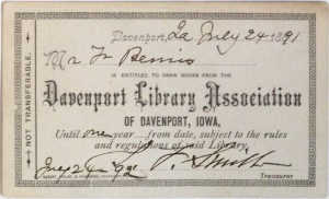 DPL Library card, ca. 1891
