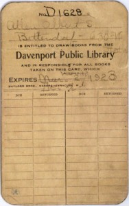 DPL Library card, ca. 1923