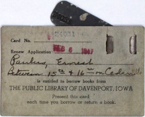 DPL Library card, ca. 1947