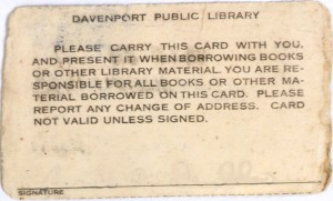 DPL Library card, ca. 1980's
