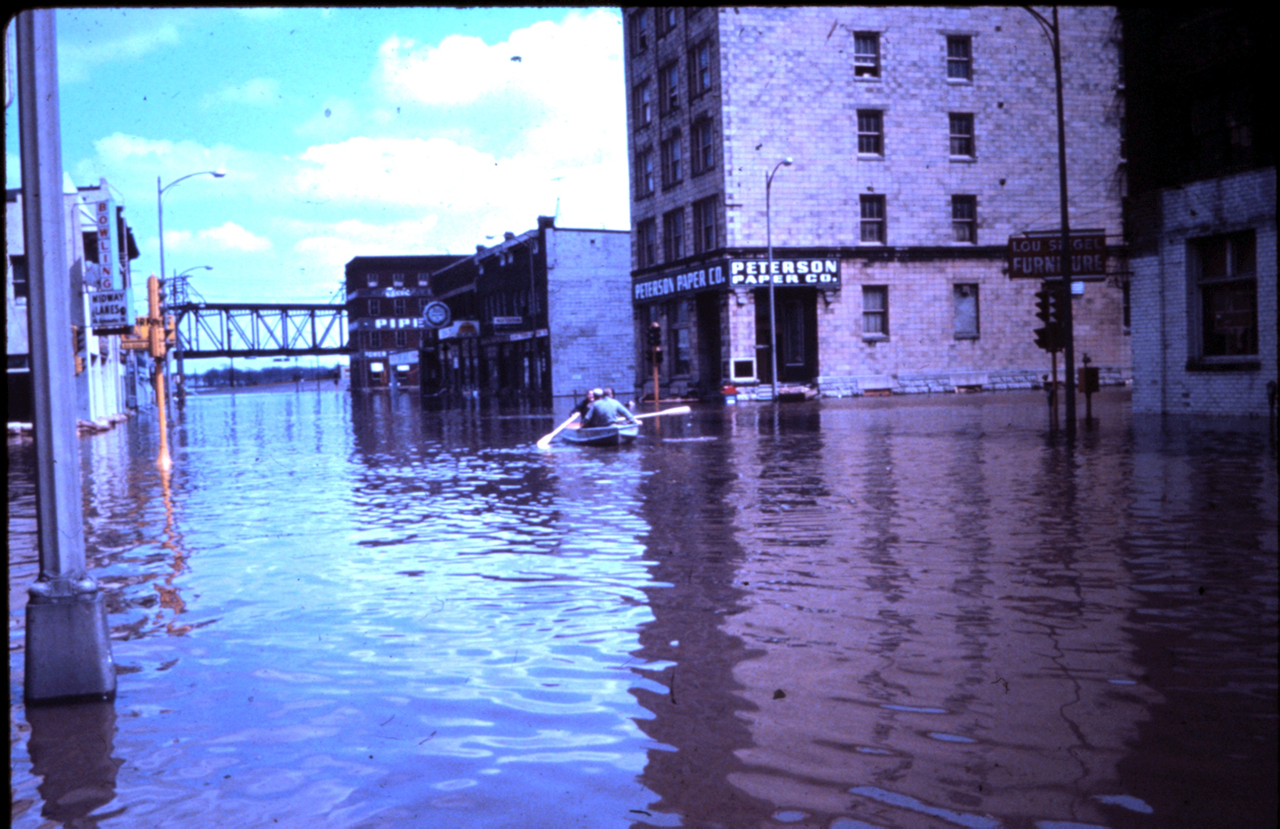One of Davenport's inundated streets. [East 2nd Street]