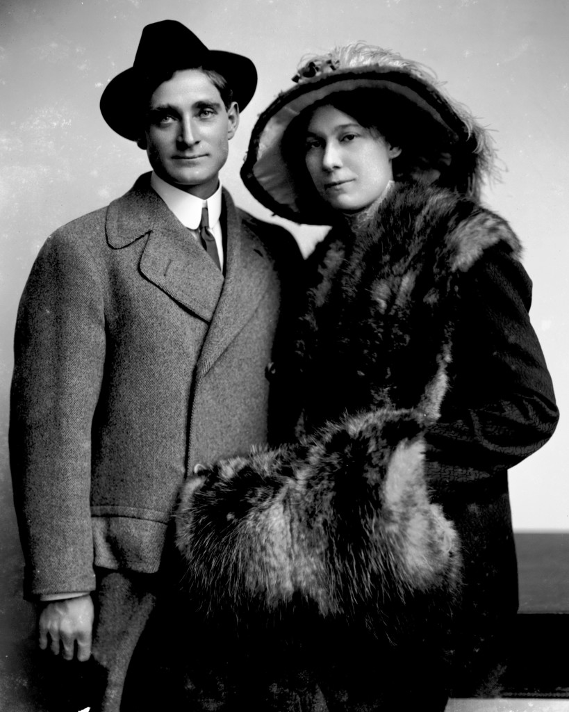 Studio portrait of Mr. Emil C. Boniger and his wife Bertha standing next to each other. According to a newspaper article in the Davenport Democrat, the couple celebrated their tenth wedding anniversary in June 1913.