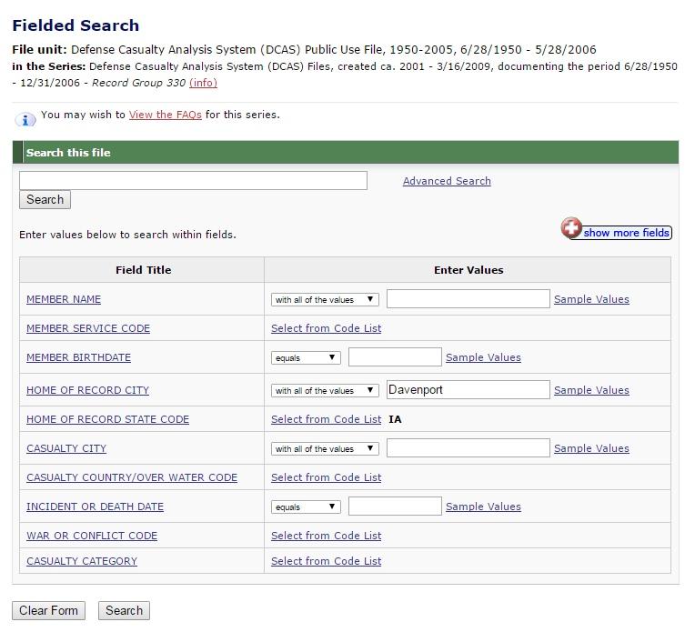 NARA - AAD - Fielded Search