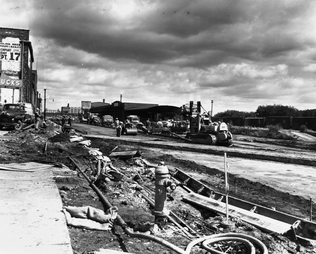 Road construction at River Dr. & Gaines St. [ca. 1956]