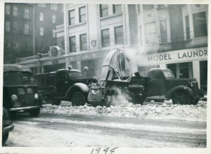 Snow Removal in downtown Davenport 1944. (2008-20.65)