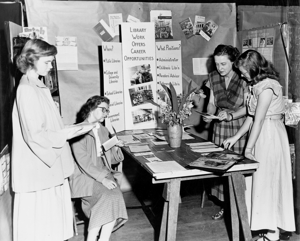 Library booth at Davenport High School's Career Day [06 May 1949] Myrtle Dunlap, Davenport High School Librarian