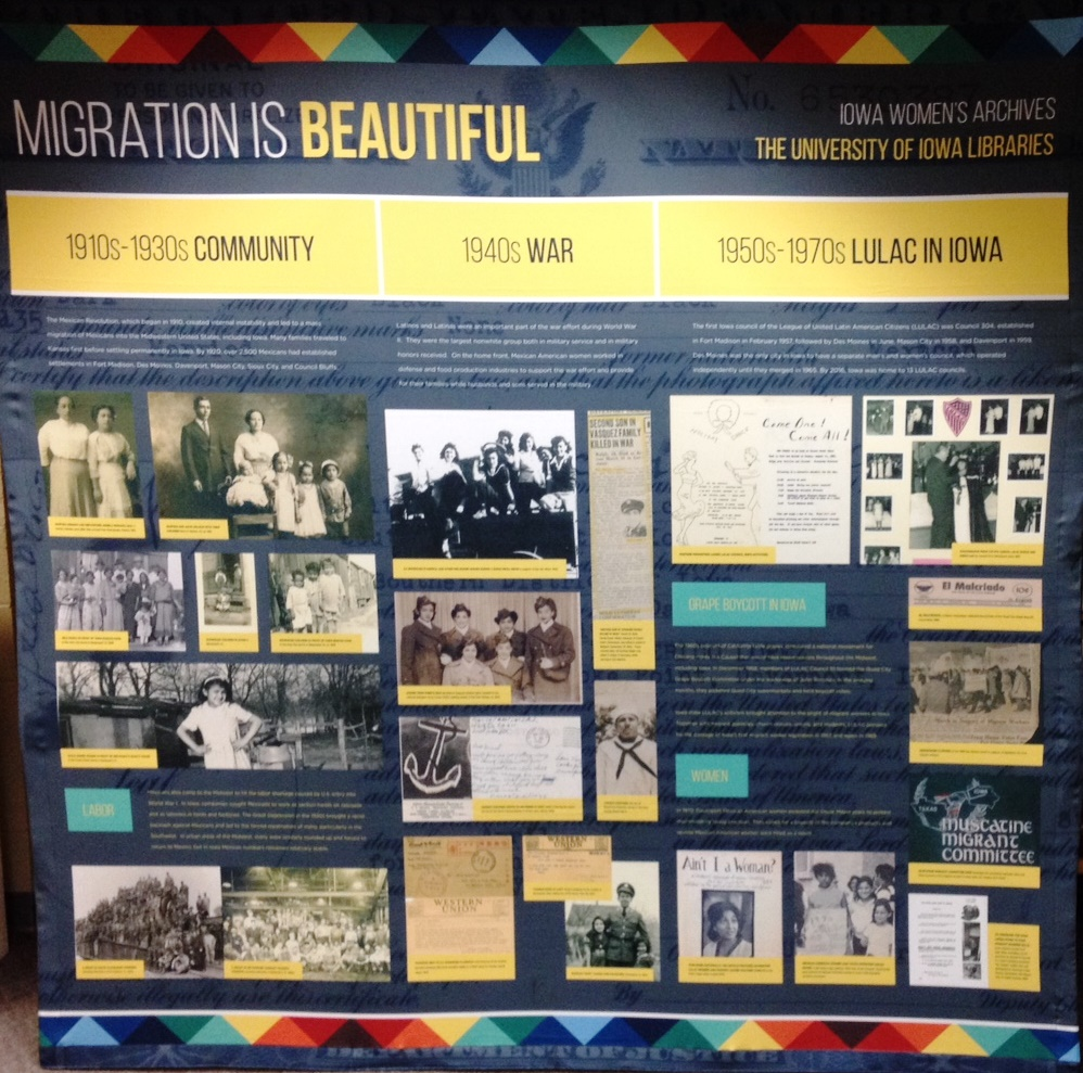 Migration Is Beautiful portable exhibit - photo by Janet Weaver, Assistant Curator, Iowa Women's Archives