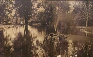 Upper lagoon at Vander Veer Park c. 1915. Loretta Clayton Donation 2003-43.