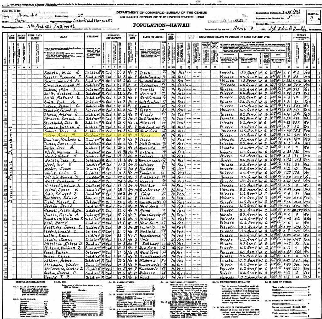 Alvis Taylor 1940 Census
